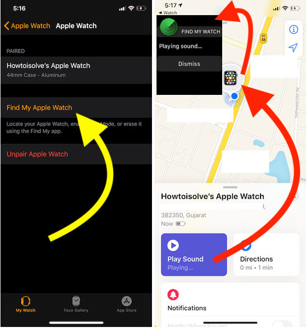 Ping Apple Watch from iPhone so play alert sound on Apple watch