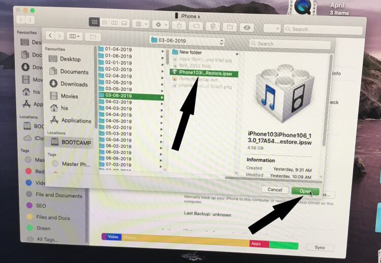 Select ipsw file and start restoring on iPhone iOS 13