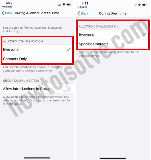 Set Communication limits On iPhone