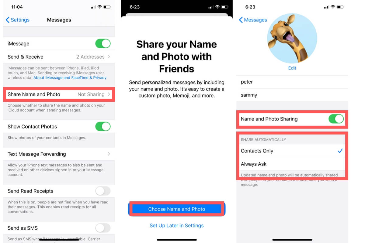 Share Name & Photo in iMessage on iPhone and iPad