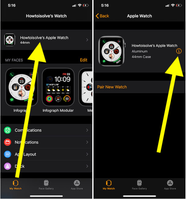 Where is find my Apple Watch on iphone Watch App
