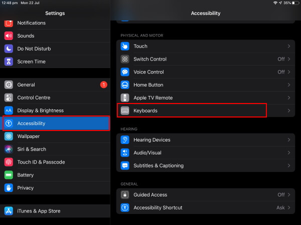 Accessibility Settings on iPadOS