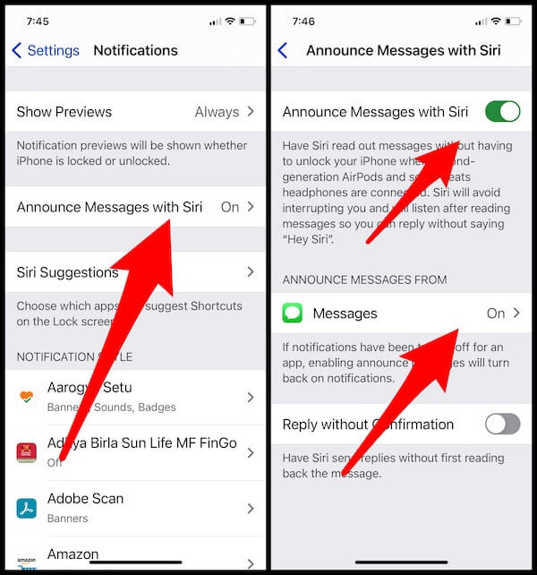 Announce Messages with siri on iPhone settings