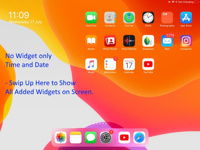 Showing Only Time and Date No Widget on iPadOS Home screen