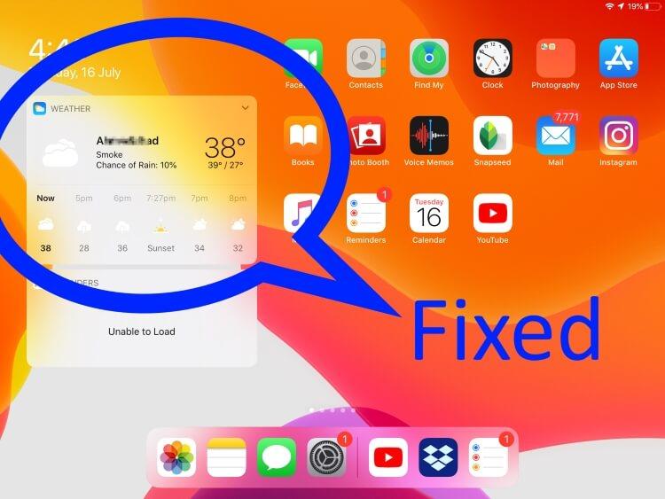 Weather Widget not working on iPadOS on Home screen or Todays view Widget