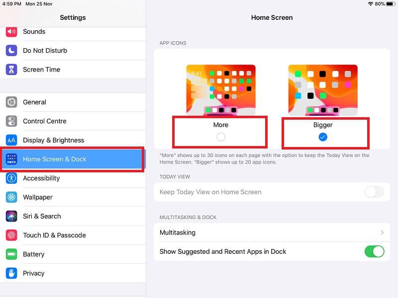 Change App icon size on iPad home screen- Bigger App icon on iPad Screen