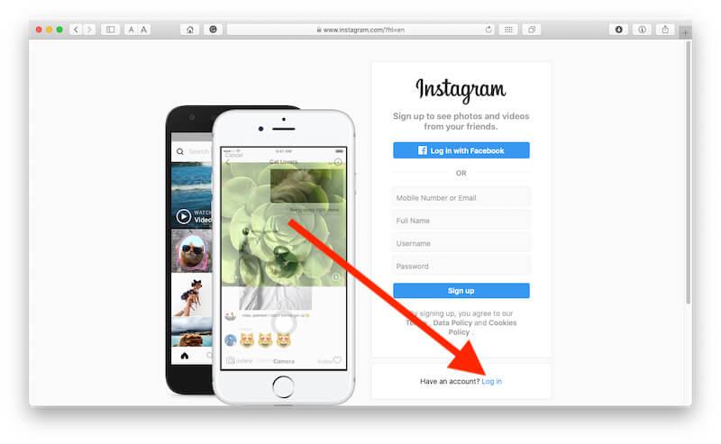 Login instagram on Mac