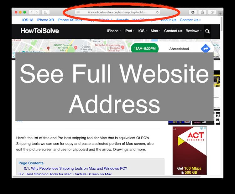 See Full website Address in Safari URL Address Bar on Mac