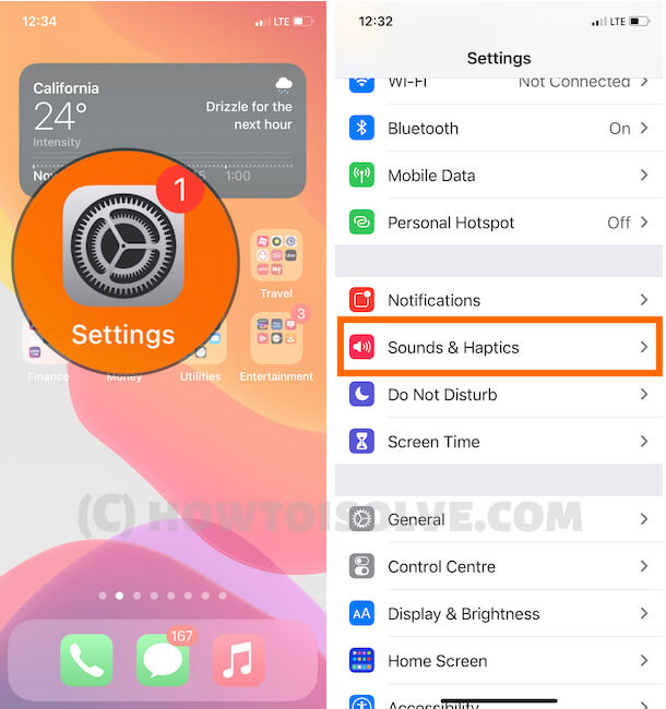 Sounds and Haptics on iPhone settings