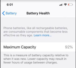 Battery Health on iPhone 11 Pro