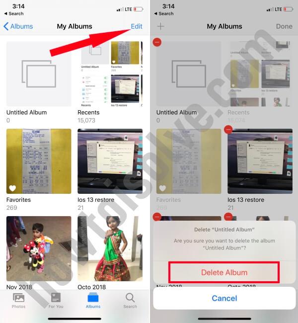 Delete Album from Photos App1