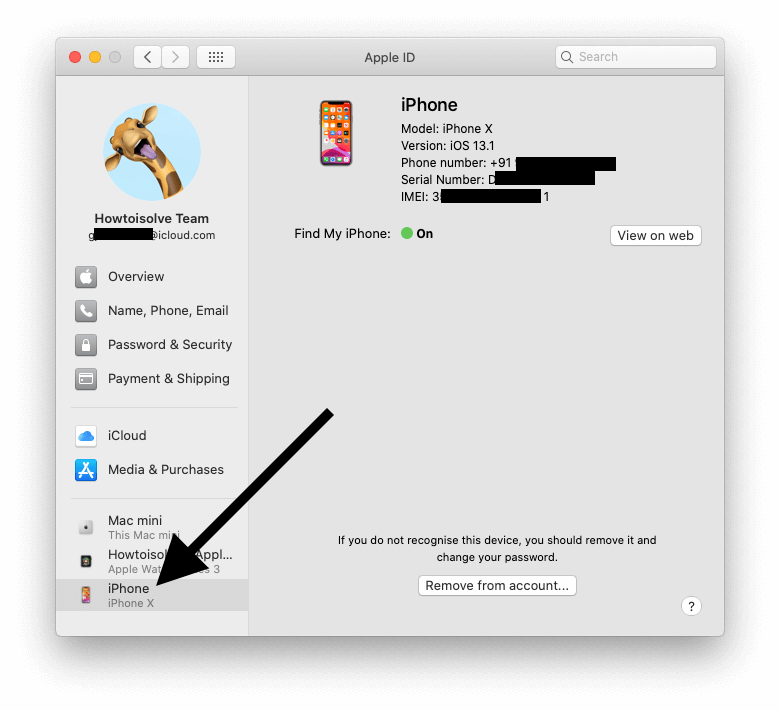 Remove apple device from account on Mac