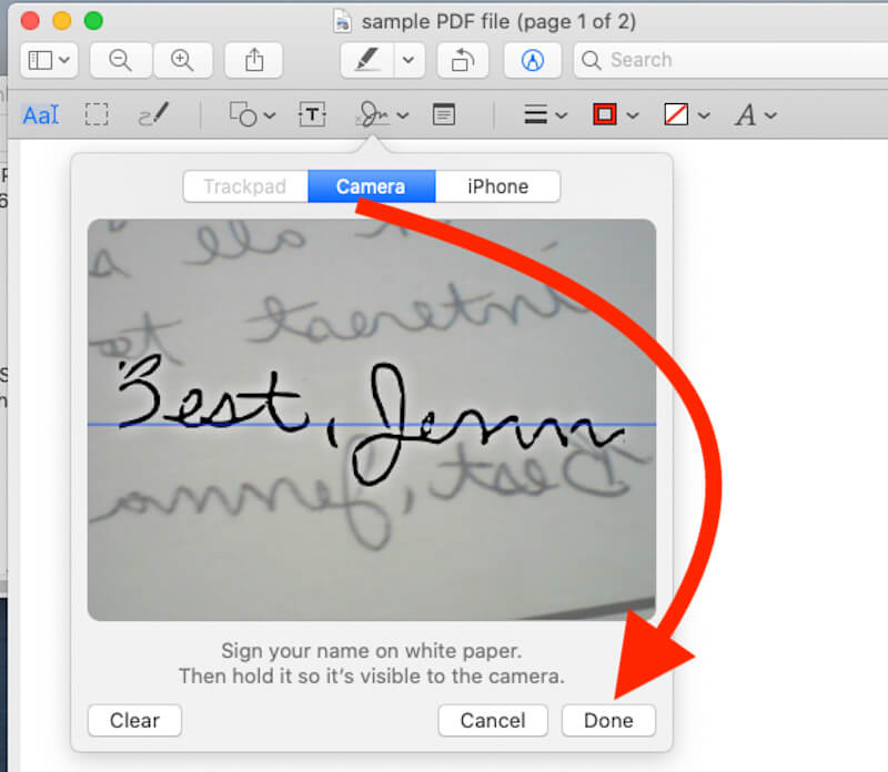Add Signature Using Camera on Mac Preview