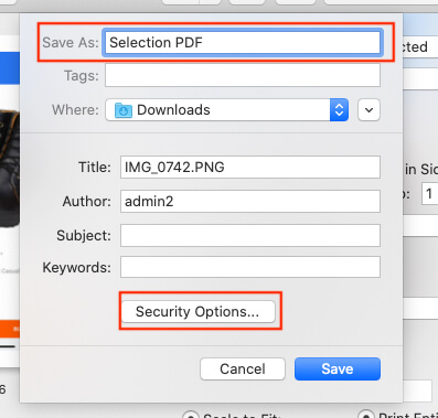 Give a PDF file name and Apply Security password if you wish