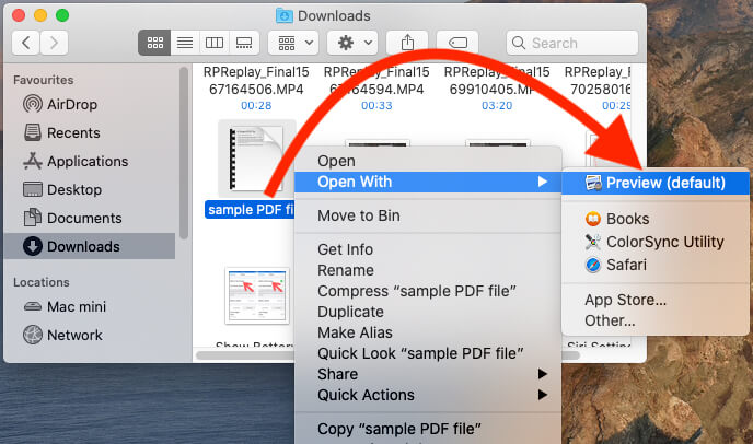 Open PDF Document file in Preview Mac to add Signature