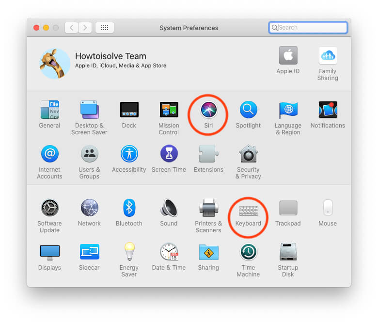 Siri Settings and Keyboard Settings under System Preferences on Mac