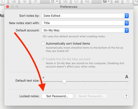 Set Password for Lock Note on Mac' Notes App