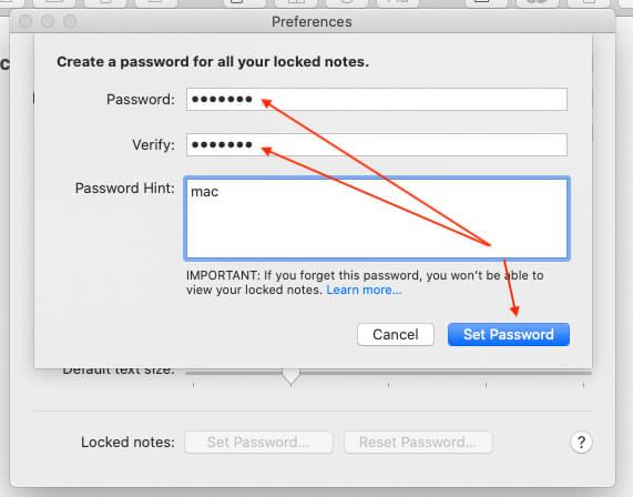 Set Passwords for Notes app