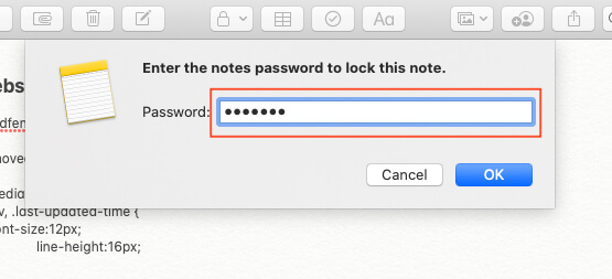 Verify Password to Lock new Note on Mac Notes App