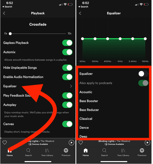 Change Equalizer Sound on Spotify iPhone app