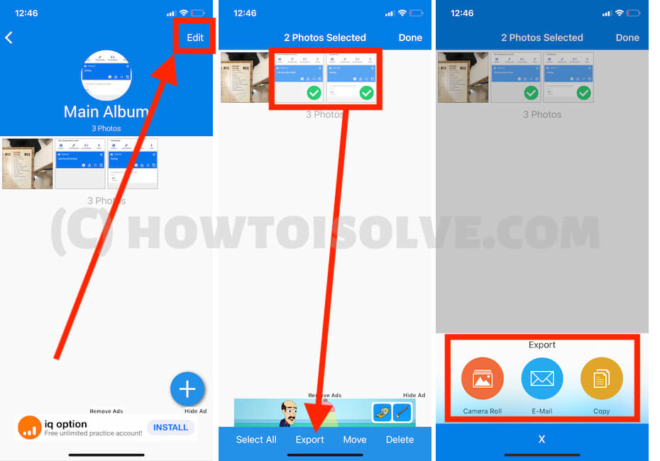 Export or Save photo from Photo Vault app to iPhone camera roll