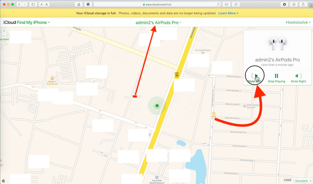 Find AirPod Location on Mac or PC Browser