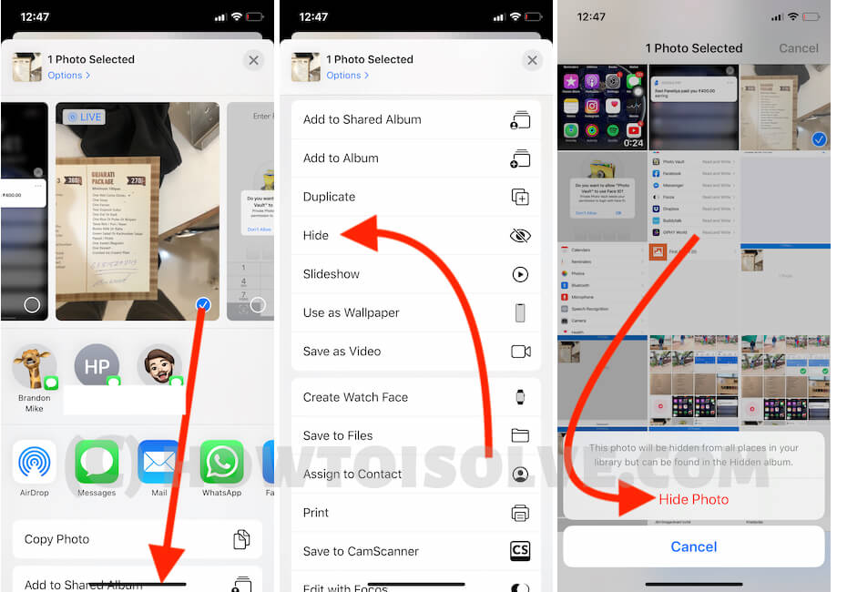 Hide photo on iPhone without Photo Vault App on iPhone