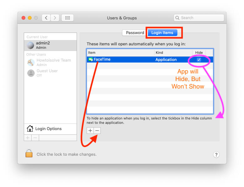 Remove FaceTime from login items on launch on Mac