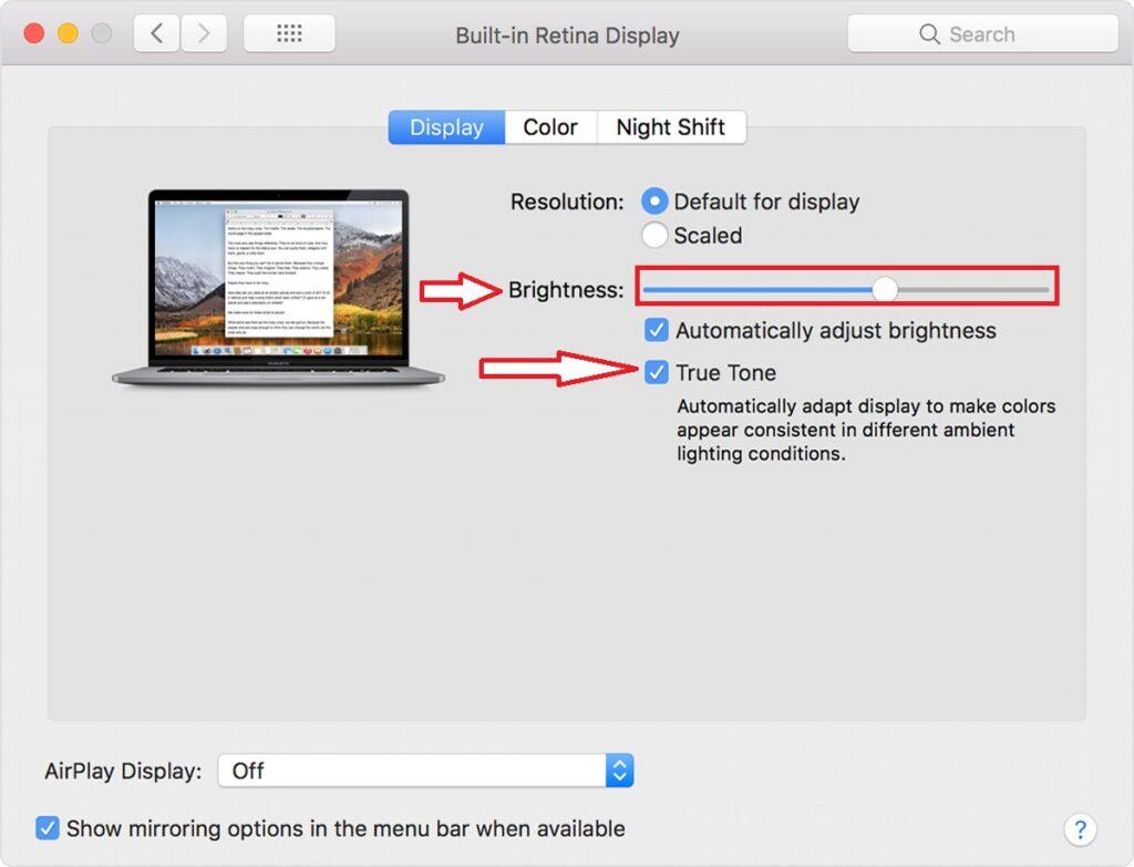 Set or adjust true tone mode and brightness level on Apple Pro Display XDR
