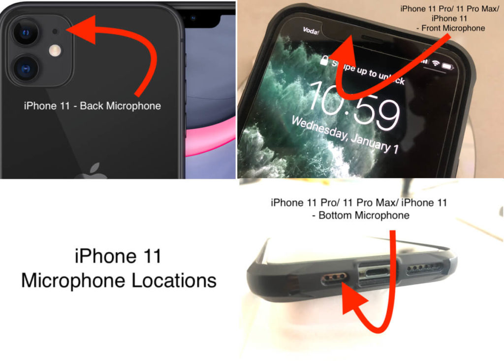 Where is iPhone 11 Microphone locations