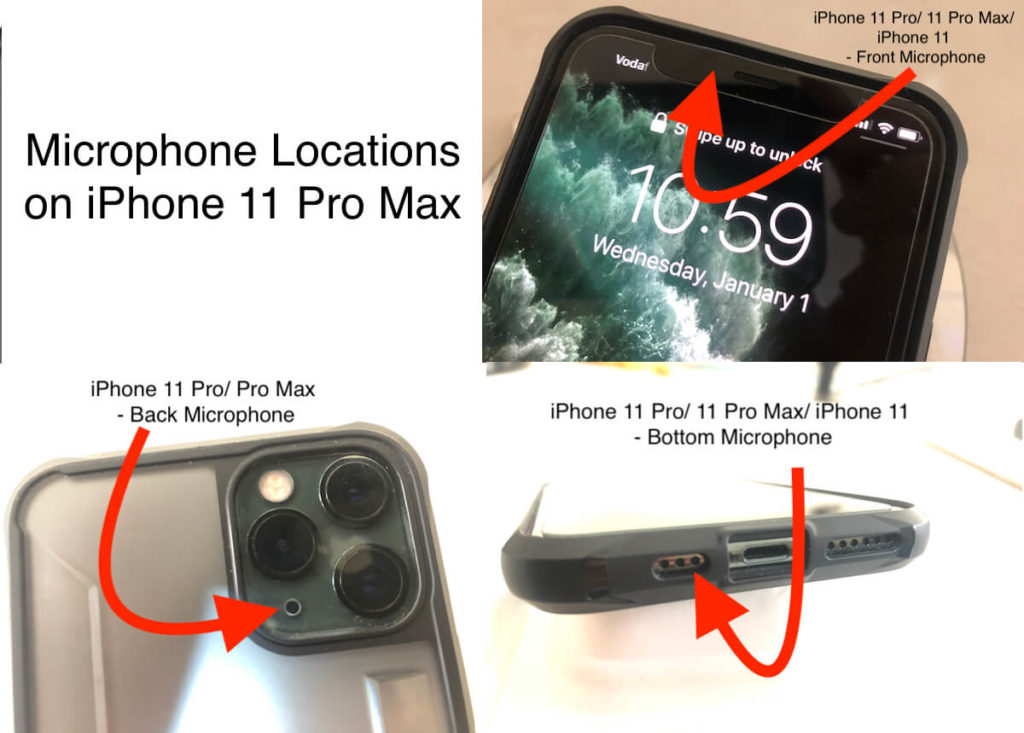Where is iPhone 11 Pro Max Microphone locations