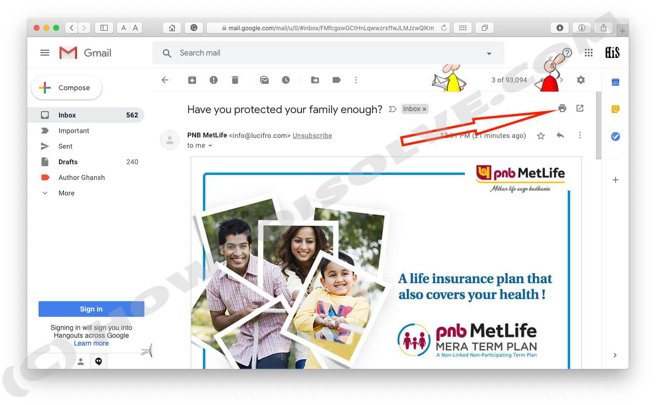 Click on Print Symbol on Gmail