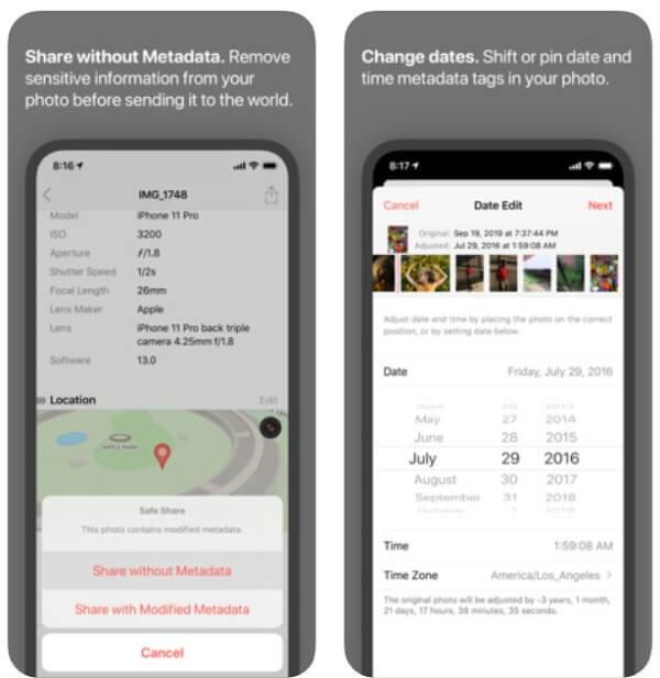 Metapho EXIF Metadata App for iOS