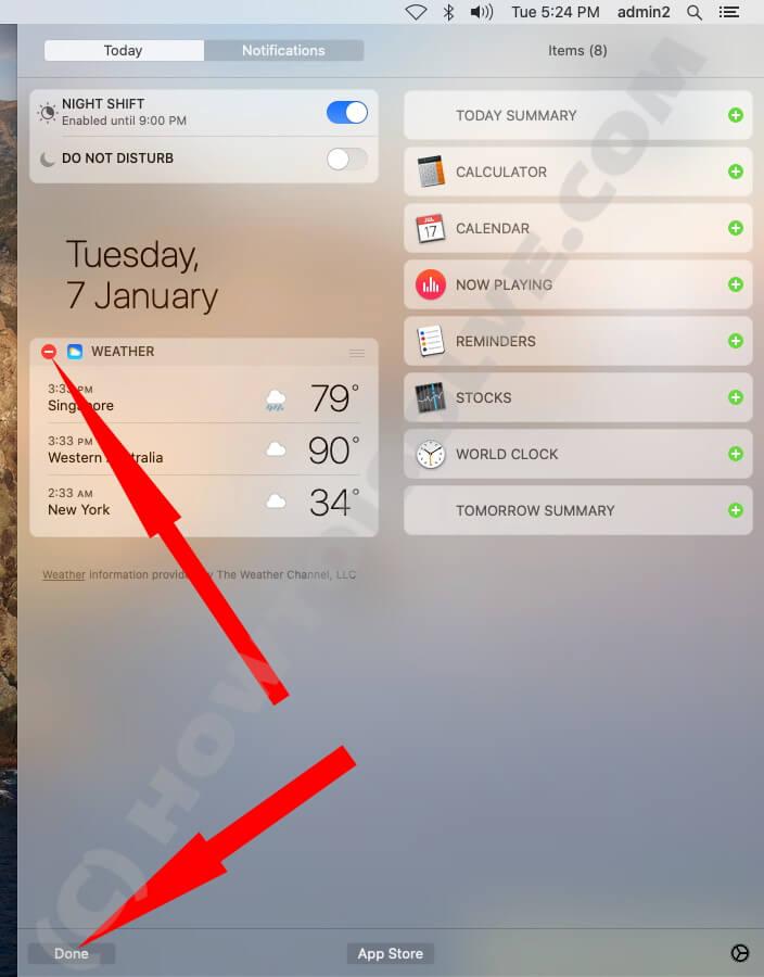 Remove Widget on Mac