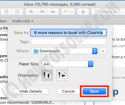 Save Mail as PDF on Mac