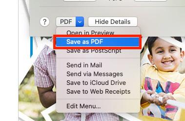 Select Save as PDF Gmail