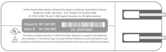 AirPort Express 1 Serial Number