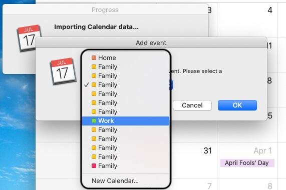 Add Facebook event on your Calendar category