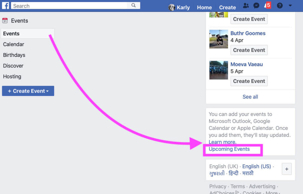 Download Upcoming Event on Facebook account From safari Mac