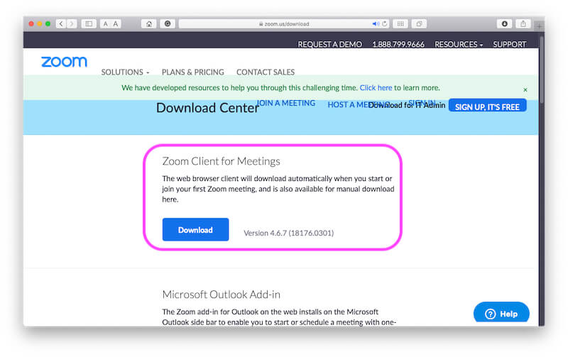 Download Zoom software for Mac from internet website