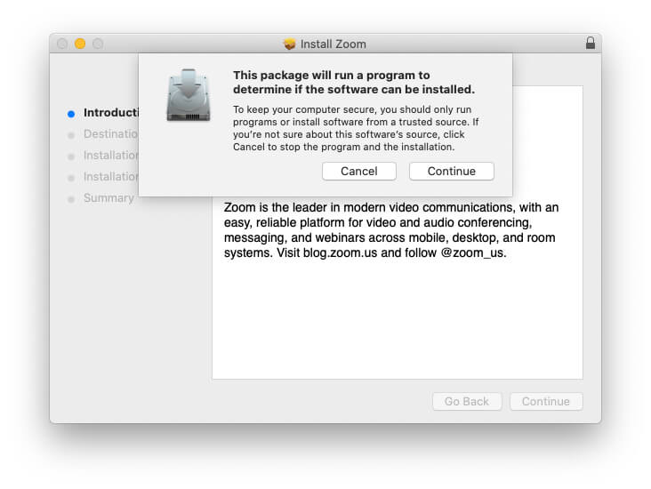 Install Zoom on MacBook Mac and launch after install on MacBook