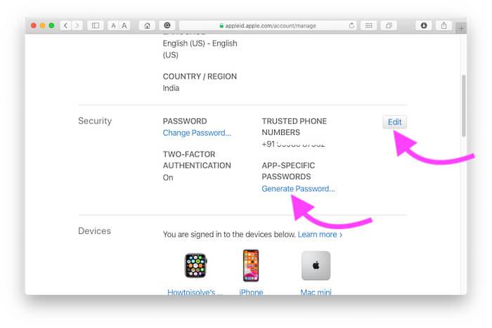Revoke App Password from icloud account