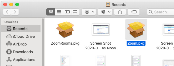 Right click on Zoom setup pkg file and Open