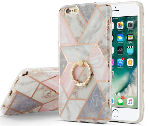 Beautiful Ring Holder Marble Case for iPhone SE 2
