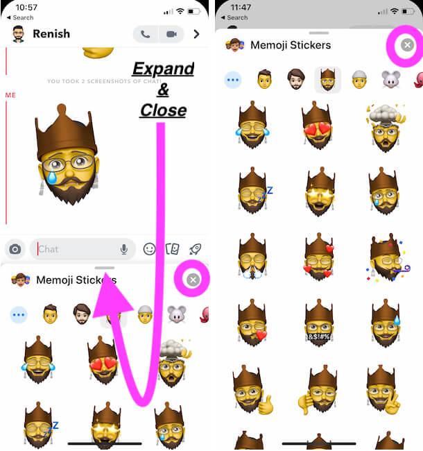 Expand Memoji Keyboard or Close Memoji Keyboard on iPhone
