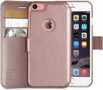 LUPA Faux Leather Wallet Case for iPhone SE 2020