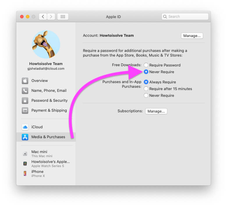 Never Required Password for download free app from Mac App Store