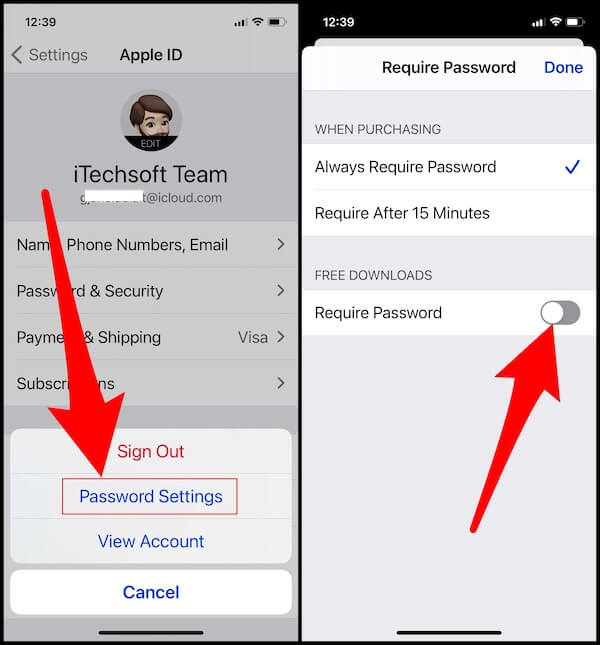 turn off required password for download free app on iPhone