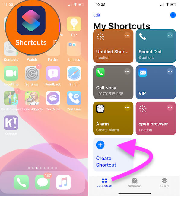 3 Open Shortcuts app and Create a new Shortcut