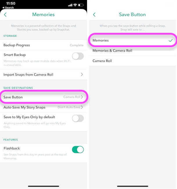 Auto save your snap to your Memories on iPhone Snapchat app